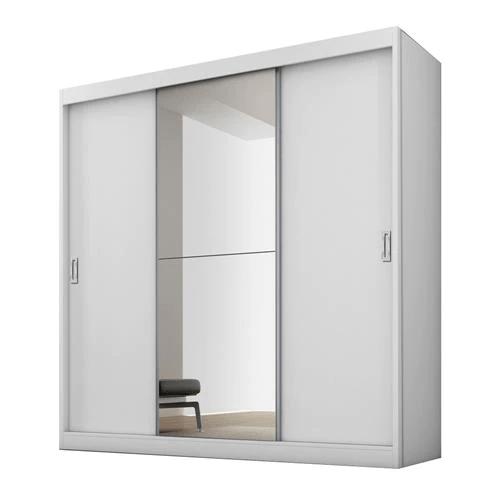 Guarda-roupa Fama Flórida Plus com 3 portas de correr, 4 gavetas e espelho